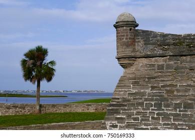 St. Augustine, Florida, USA, October 22, 2017: Corner tower of the Castillo de San Marcos