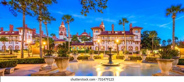 St. Augustine, Florida, USA panorama at twilight.