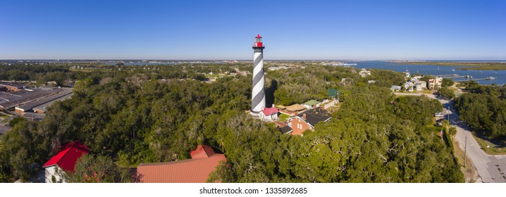 St. Augustine Lighthouse aerial view panorama. This light is a National Historic Landmark on Anastasia Island in St. Augustine, Florida, USA.