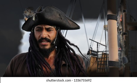 ST. AUGUSTINE, USA - June 8, 2017: Portrait of an actor in the image of a medieval bearded pirate & a sailboat in the background. Cruise on a pirate ship in St. Augustine, FL. Vintage style photograph