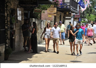 St. Augustine,FL/USA- 07/24/2017: Summer crowds descend on the ancient streets of St. Augustine; the oldest city in America.