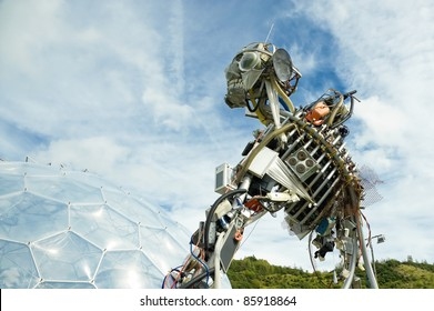 St AUSTELL, UNITED KINGDOM - SEPT. 15 : WEEE Man, the waste electrical and electronic equipment robot sculpture on display at the Eden Project in St Austell, UK on Sept 15, 2011