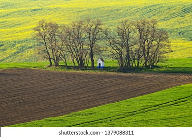 St. Barbara's Chapel - Strazovice. Spring sunset landscape of Moravian Tuscany in Czech Republic.