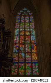St Barbara's Church , Kutna Hora, Czech Republic - July 15, 2018: Stained glass in the Saint Barbara's Church in Kutna Hora