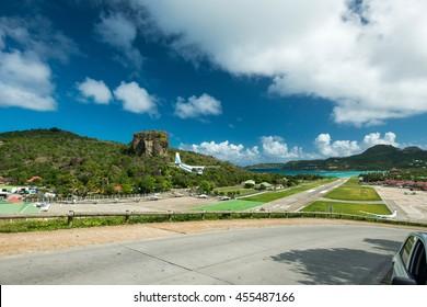 St Barth airport, Caribbean sea