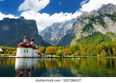 St. Bartholomew church on Konigssee, known as Germany's deepest and cleanest lake, located in the extreme southeast Berchtesgadener Land district of Bavaria, near the Austrian border.