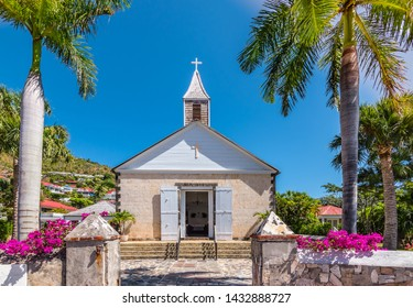 St Bartholomew's Anglican Church in Saint Barthélemy. Church at harbor of Gustavia, St Barts.