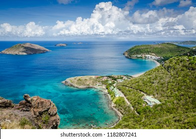 St. Barths / French West Indies - Coastline of West Indian island of St. Barths including protected bay of Point a Etages and several offshore keys.