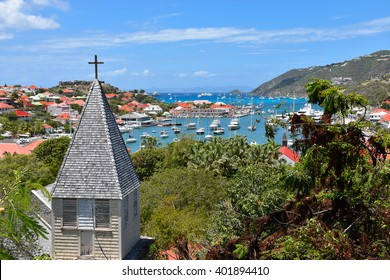 St Barts, Caribbean, harbor view with church in front