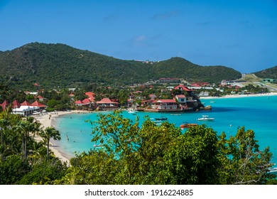 ST BARTS, FRENCH WEST INDIES - FEBRUARY 1, 2021: Famous Eden Rock Hotel on the island of Saint Barthelemy, a French-speaking Caribbean island commonly known as St. Barts