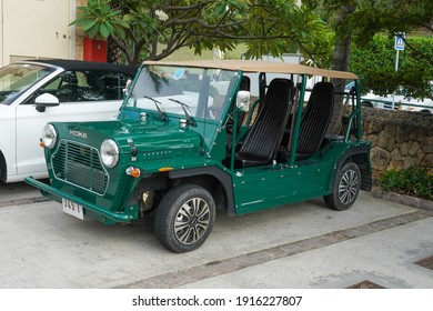 ST BARTS, FRENCH WEST INDIES - FEBRUARY 3, 2021: Mini Moke car in front of famous Eden Rock Hotel on the island of Saint Barthelemy