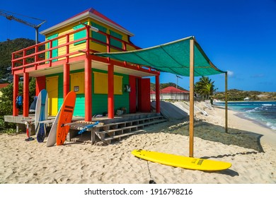 ST BARTS, FRENCH WEST INDIES - FEBRUARY 3, 2021: Iconic surf shack at Lorient Beach on the island of Saint Barthelemy, Caribbean island commonly known as St. Barts