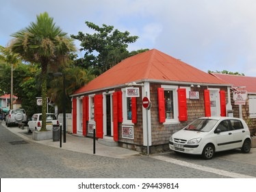 ST BARTS, FRENCH WEST INDIES - JUNE 12, 2015: On the street of  Gustavia at St Barts. It is the only Caribbean island which was a Swedish colony for significant length of time