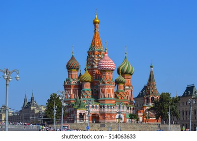 St. Basil Blazhenny's temple on the Red Square, famous touristic place and historical landmark of Moscow, Russian symbol