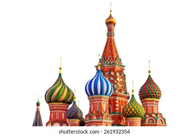 St. Basil cathedral on Red Square in Moscow, Russia, isolated on white background