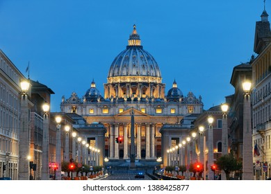St. Peter's Basilica in Vatican City with street view.
