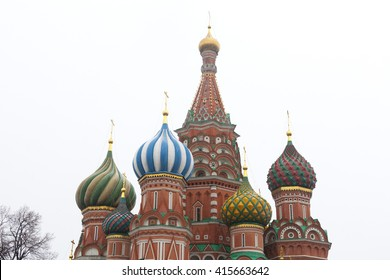 St. Basil's Cathedral amidst snow storm in Red square, Russia