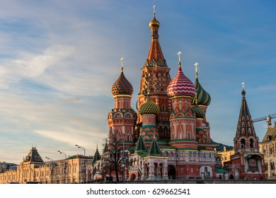 St. Basil's cathedral and the Kremlin on the Red Square in Moscow at sunset