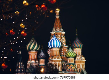 St. Basil's Cathedral in Moscow on the background of the New Year's decoration