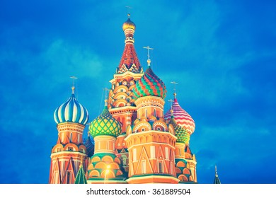 St. Basil's Cathedral in Moscow, Russia. The famous dome against the blue sky