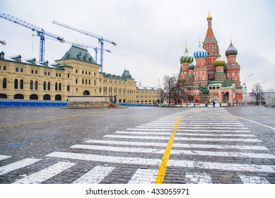 St. Basil's Cathedral in Moscow, Russia. View of the Red Square with Vasilevsky descent.