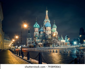St. Basil's cathedral  with night illumimnationin winter. Moscow. Christmas 2018
