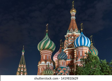 St. Basil's Cathedral night view. Red Square Moscow Russia