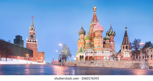 St. Basil's Cathedral on Red Square in Moscow at dawn.