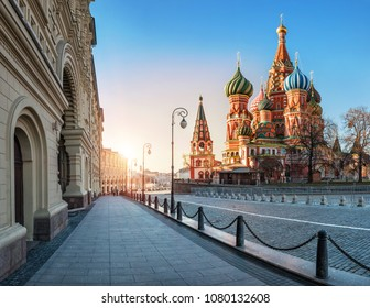 St. Basil's Cathedral on Red Square in Moscow near GUM in the morning light of the spring sun