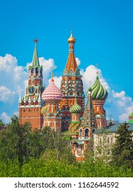 St. Basil's Cathedral on red square, photo taken from the Park Zaryadye in Moscow