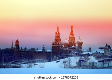 St Basils Cathedral on red square in Moscow color collage