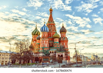 St Basil's Cathedral on the Red Square in Moscow, Russia.