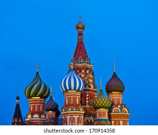 St. Basil's Cathedral on Red square in Moscow, Russia (evening)