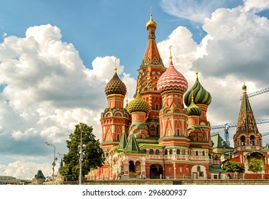 St Basil`s Cathedral on Red Square in summer, Moscow, Russia. It is one of the top landmarks of Russia and travel destinations in Europe. Beautiful view of the famous old church in Moscow centre.