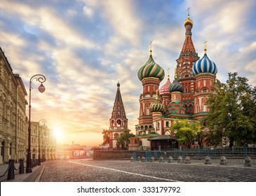 St. Basil's Cathedral on Red Square under the morning sky pearl