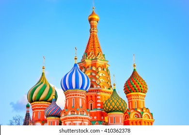 St. Basil's cathedral on the Red Square in Moscow at dusk.