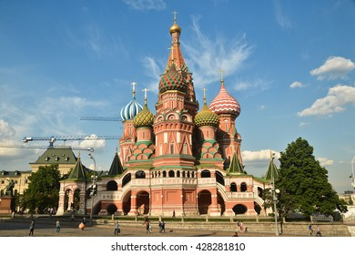 St. Basil's Cathedral. St. Basil's Cathedral on red square in Moscow on a Sunny summer day.