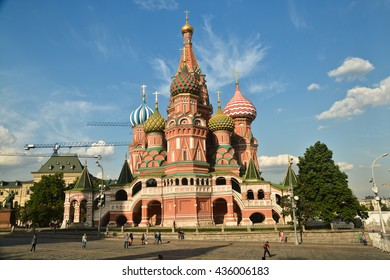 St. Basil's Cathedral on red square in Moscow on a Sunny summer day.