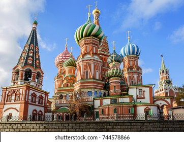 St. Basil's Cathedral on Red Square in Moscow.  St. Basil's Cathedral is one of the most beautiful and ancient churches in Moscow, the most important decoration of Red Square.