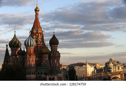 St. basil's cathedral on sunset sky