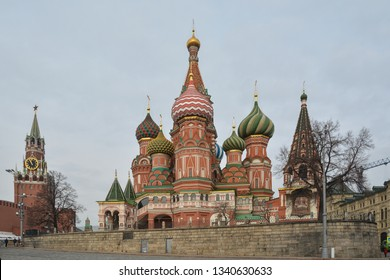 St. Basil's Cathedral. Pokrovsky Cathedral and Spasskaya tower on Red Square in Moscow, the capital of Russia.
