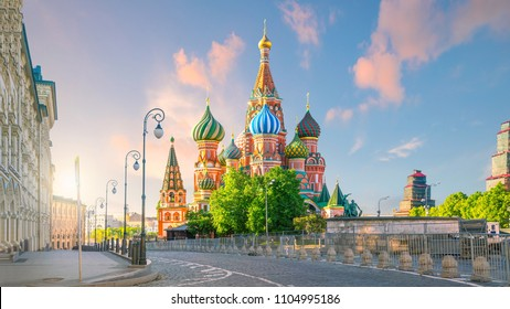 St. Basil's Cathedral at Red Square in Moscow with sunrise