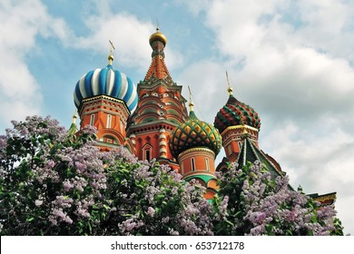 St Basils cathedral. Red Square, Moscow. Color photo.