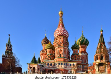 St. Basil's Cathedral and Spasskaya Tower on Red square, Moscow, Russia