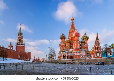 St. Basil's Cathedral and Spasskaya Tower of the Moscow Red Square