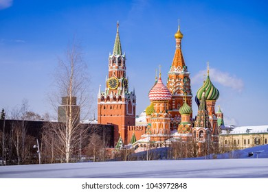 St. Basil's Cathedral and Spassky Tower in the winter morning wi