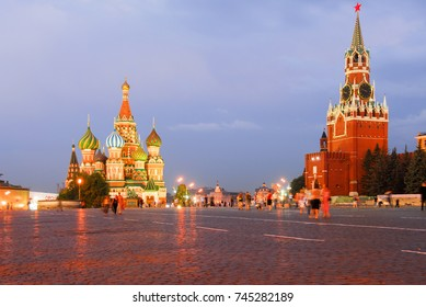 St Basil's Church in Moscow Red Square on a summer's night