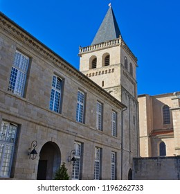 St Benoit's tower and part of the Bishop's palace (now the town hall) in Castres, Southern France