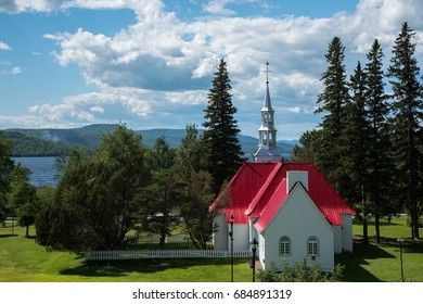 St. Bernard Chapel with view to the lake. Mont-Tremblant - Canada