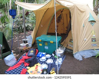 St Blazey, Cornwall, England - April 8, 2009 : A ShelterBox emergency shelter tent and equipment on display in the Tropical Biome glasshouse of Eden Project, the world's largest indoor rainforest